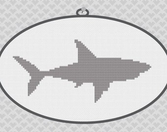 Shark Silhouette Cross Stitch PDF Pattern