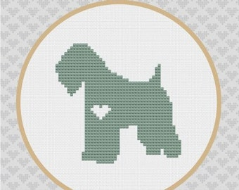 Wheaten Terrier Silhouette Cross Stitch PDF Pattern