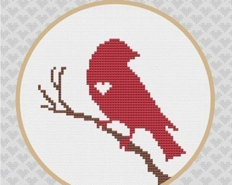 Bird on Branch Silhouette Cross Stitch PDF Pattern
