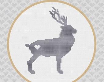 40% OFF code: CYBERMONDAY40- Deer Silhouette Cross Stitch PDF Pattern 2