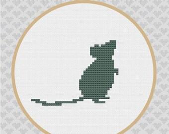 Mouse Silhouette Cross Stitch PDF Pattern
