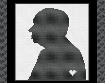 Alfred Hitchcock Silhouette Cross Stitch Pattern I