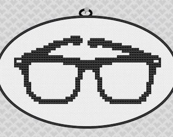 40% OFF code: CYBERMONDAY40- Nerd Glasses Silhouette Cross Stitch PDF Pattern
