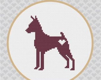 Miniature Pinscher Silhouette Cross Stitch PDF Pattern