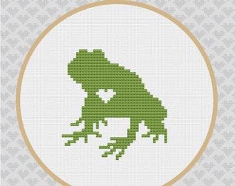 Frog Silhouette Cross Stitch PDF Pattern