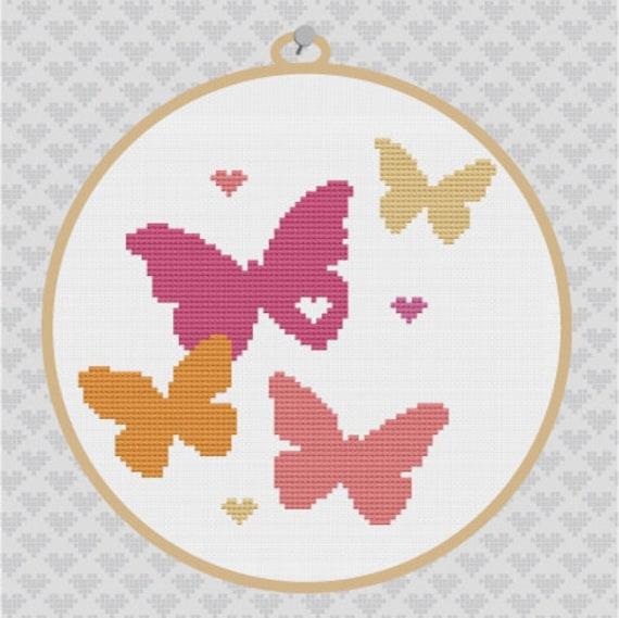 Butterflies Silhouette Cross Stitch PDF Pattern 2