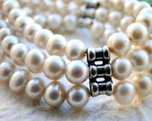 Luxe Freshwater Pearl Bracelet with Sterling Silver, Jewelry, Holiday Gift, Pearl Bracelet