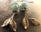 Jewelry Fall Collection, Earrings, Rustic, Earthy, Emerald Gemstones, Accessories, Rough Emerald Stones with Brass Leaves