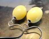 SPRING SALE Earrings - Butter, Yellow, Lemon, Earrings, Sterling Hoops, Earth Tones, Glass, Accessories