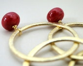 SALE SPRING, Gold, Earrings, Rubies, 24kt gold plated, 14kt gold plated Hoops, Earthy, Elegant Accessories