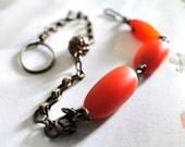 Orange Brown Autumn Carnelian Gems Bracelet, Brass Chain, Vintage Brass Bead