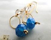 SALE Earrings Blue Faceted Crystal, Swarovski Crystal Earrings, Gold Ring, Blue and 10kt Gold Hoops