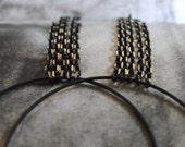 CRAZY SALE Jewelry, Earrings, Dangle Chain Earrings, Dress Up Luxe Black Gold Two Toned Chain, Black Hoops, Accessories