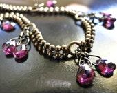RESERVED Bracelet,  AAA  Deep Red Garnet Gemstones, Faceted Gems, Vintage Brass Chain, Antiqued, Stones
