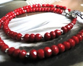 Holiday Gift, Deep Red Coral Gemstone Necklace, Gorgeous Handmade Flower Leaf Clasp, Red, Sterling Silver Necklace, Red, Silver, Necklace