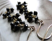 Jewelry Earrings, Statement Earrings Black Garnet Faceted Gemstone Earrings, Runway, Gift for Her, 14kt Gold Filled, Luxe Jewelry