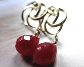Dangle Earrings, Deep Red Faceted Quartz, 18kt Gold Plated Fancy Stud Hoops, Ruby, Gift for Her
