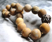 Bracelet, Gift for Her, Australian Jasper Gemstone Bracelet, Rustic Roll on Bracelet, Accessories