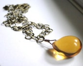 Jewelry Necklace, Gold Glass Pendant, Brass Chain,  Earthy, Rustic