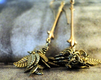 Jewelry, Earrings, Leave Me....Leaves, Brass, Dangle Earrings, Rustic Earrings, Dangle, Brown, Earthy, Gold, Vintage Accessories
