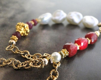 Jewelry, 14k Gold Ruby and Freshwater Pearl Bracelet, Freshwater Pearl, Rubies, 14kt Gold Filled Bracelet