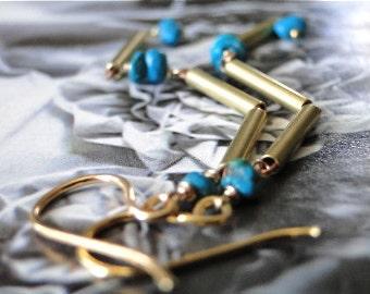 SALE Jewelry, Earrings, Turquoise, Brass/Copper Dangle Earrings, Gemstone Earrings Vermeil, Hoops, Chic, Long Dangle Earrings, Gift Box