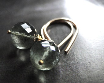 Jewelry, 14k Gold Earrings, Gemstone Earrings, Gemstone Earrings, Moss Agate, Accessories, 14kt Gold Filled Hoops, Gift Box