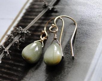 SALE Jewelry, Earrings, Cat's Eye Gemstone Earrings, New Love Dangle Earrings , Gemstones, 14k Gold Filled Earrings, Gifts for Her