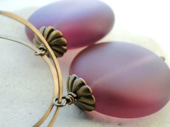 SALE Deep Mauve Artisan Glass Earrings, Brass Hoops, Autumn, Brass Textured Bead Caps, Lavender Earrings, Gift