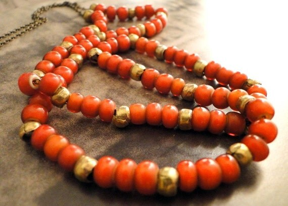 SALE - Red Heart Trade Bead and Brass Necklace