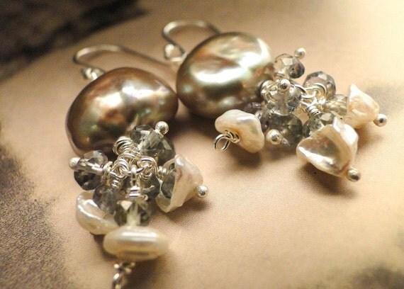 SALE Freshwater Pearl, Faceted Topaz Earrings, Autumn, Brown Pearls, Gemstone Earrings, Runway, Luxe Jewelry