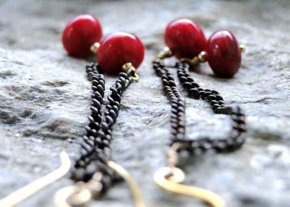 Ruby Earrings Jewelry, Genuine Ruby Earrings, 14k Gold or Brass Jewelry, Earrings, Ruby Earrings, Dangle Earrings, Accessories, Gift Box