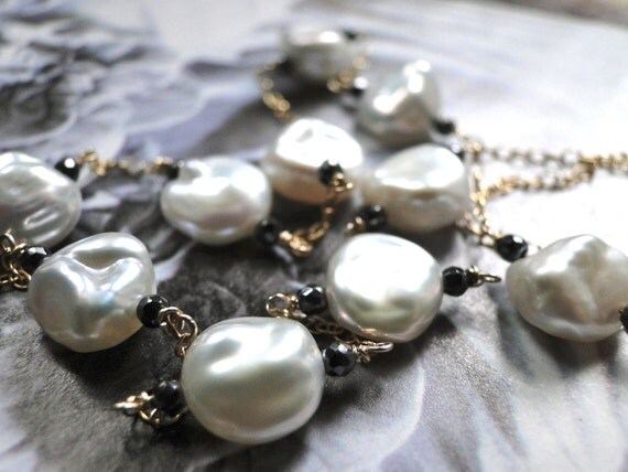 AAA Quality Freshwater Pearl and Hematite, Runway, 14kt gold Necklace, Creamy White Pearls, Gemstone Necklace, Holiday Gift