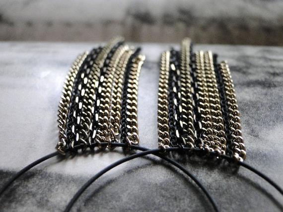 SALE Very Hip Chic, Retro, Earrings, Long Dangle Earrings, Gift for Her, Multi-Chain Earrings, Runway Style Dangle Earrings