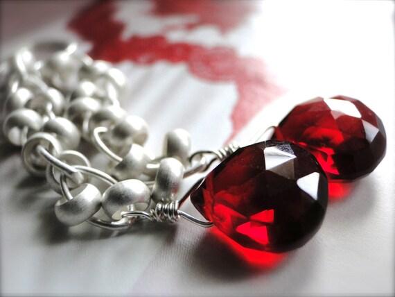 Jewelry Earrings, Gemstone Earrings, Red and Silver, Red Quartz Gemstone Earrings, Gift for Her, Accessories, Christmas