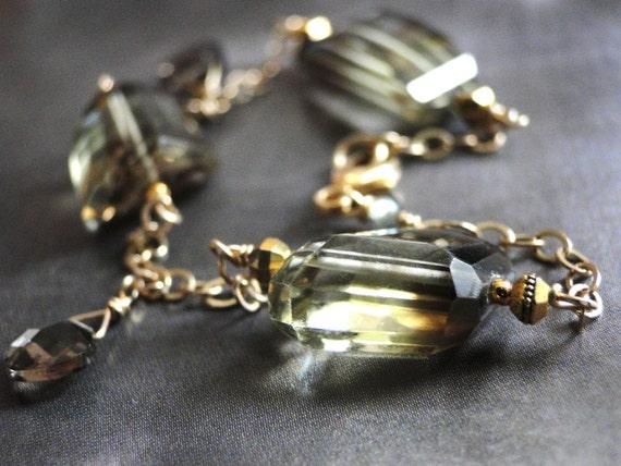 SALE -  Bracelet, Faceted Smokey Quartz, 14kt Gold Filled Chain, Green Gemstone Bracelet, Gift for Her, Lovely Bracelet