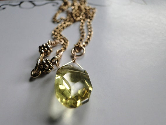 Jewelry Necklace, Faceted Lemon Quartz Gemstone, 14kt Gold Fill Cable Chain, Fancy Vermeil Clasp, Gift for Her
