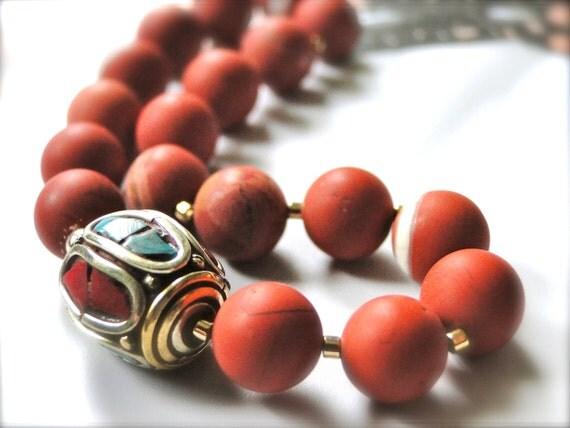 SALE - Bracelet, Gorgeous Red Jasper Gemstone Bracelet, Vintage Tibetan Bead with Coral and Turquoise Gemstones, Gift for Her