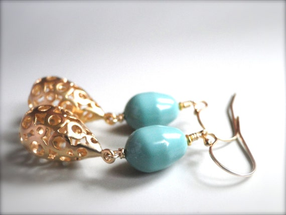 Earrings, Gifts for Her, Luxe Swarovski Pearls and Gold Plated Textured Bauble, Aqua Blue Pearl