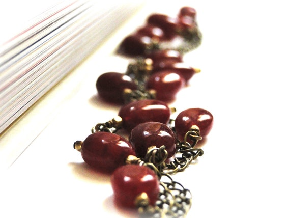Necklace -  Jewelry, Layering Necklace, Deep Red Agate Gemstones, Boho Chic Accessory