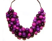 Multi-color braided wooden necklace in violet, fuchsia, purple, plum. Berries necklace :)