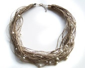 Pearls Linen Necklace, Natural Organic Eco Friendly Jewelry