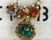 Feather Your Nest Vintage Brooch Necklace