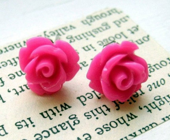 Tiny Hot Pink Rosette Posts