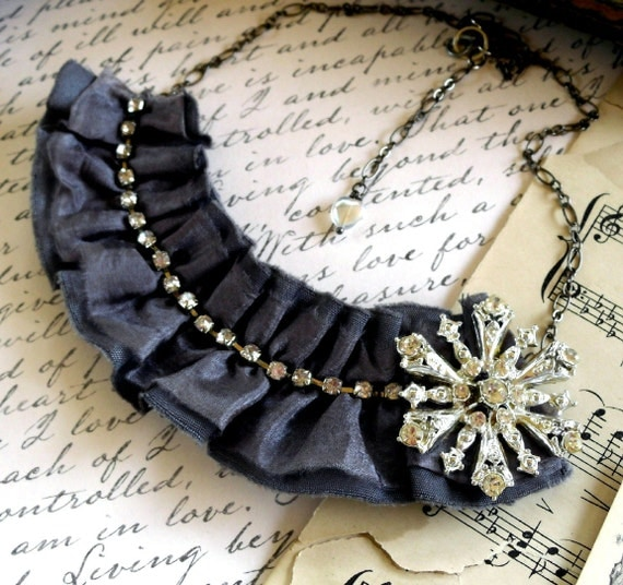 Starry Starry Night Grey Silk Wool and Rhinestone Bib Necklace