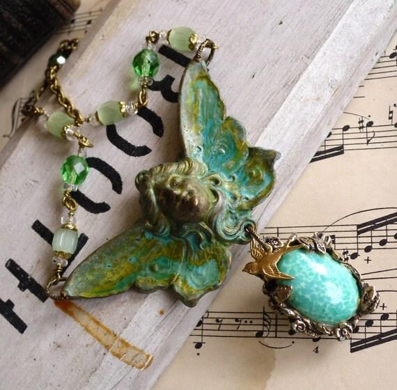 Metamorphosis Art Nouveau Vintage Assemblage Necklace