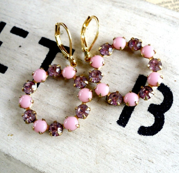 Twinkle Pink Vintage Rhinestone Circle Earrings
