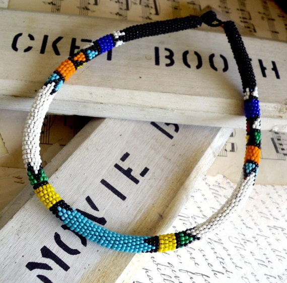 Zulu Maiden African Seed Bead Necklace