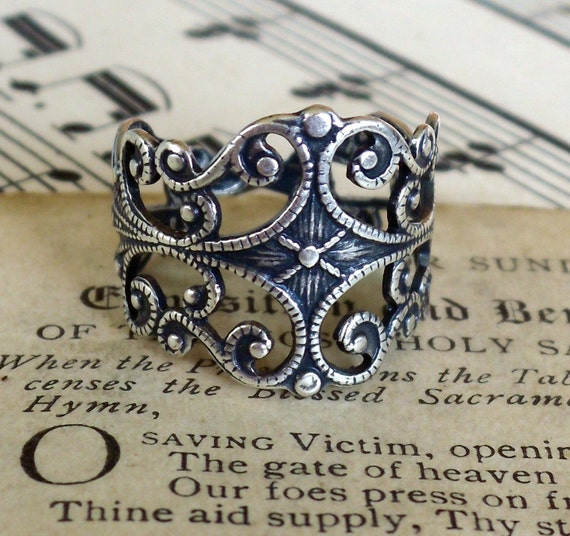 Guineveres Lover, Antiqued Sterling Silver Plated Ring