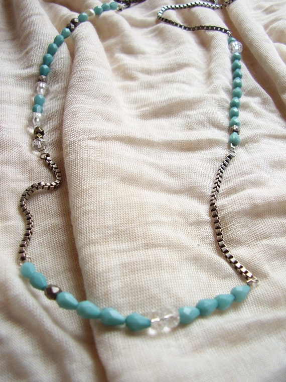 The Madison Necklace -  Turquoise and silver chain beaded long necklace